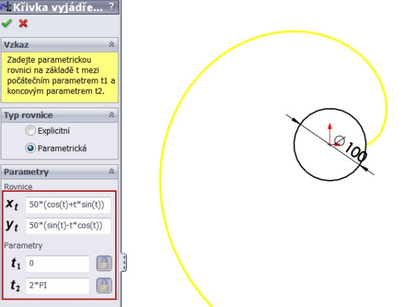3-evolventa-SolidWorks-ozubeni-parametricka-rovnice-křivka