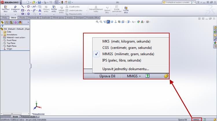 2-SolidWorks-jednotky-změna-mm-unce-palce-libra-sekunda