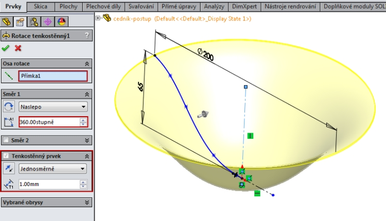 4-SolidWorks-Boolovske-operace-cednik-postup-navod