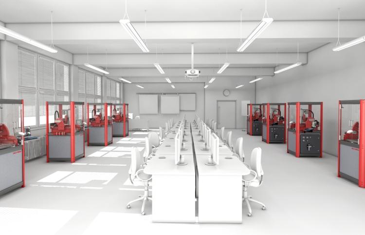Koncept moderní učebny na technické škole. Nová frézka SLV 300 CNC je navržená pro učebny technických škol. Nastěhovat do učebny lze dveřmi standardních rozměrů. Vizualizace: SolidVision