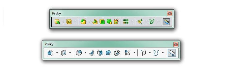 Porovnání vizuálního stylu na ikonách v SOLIDWORKSu 2015 (nahoře) a SOLIDWORKSu 2016