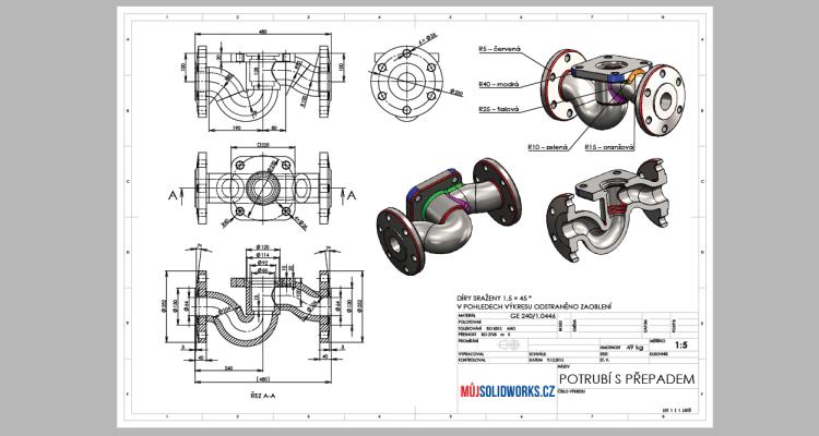 75-model-potrubi-SolidWorks-tutorial-navod-postup-vykres-nahled