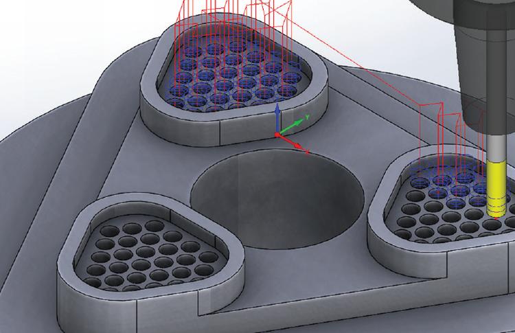 Automatické rozpoznávání děr na součástce. Foto: SolidCAM
