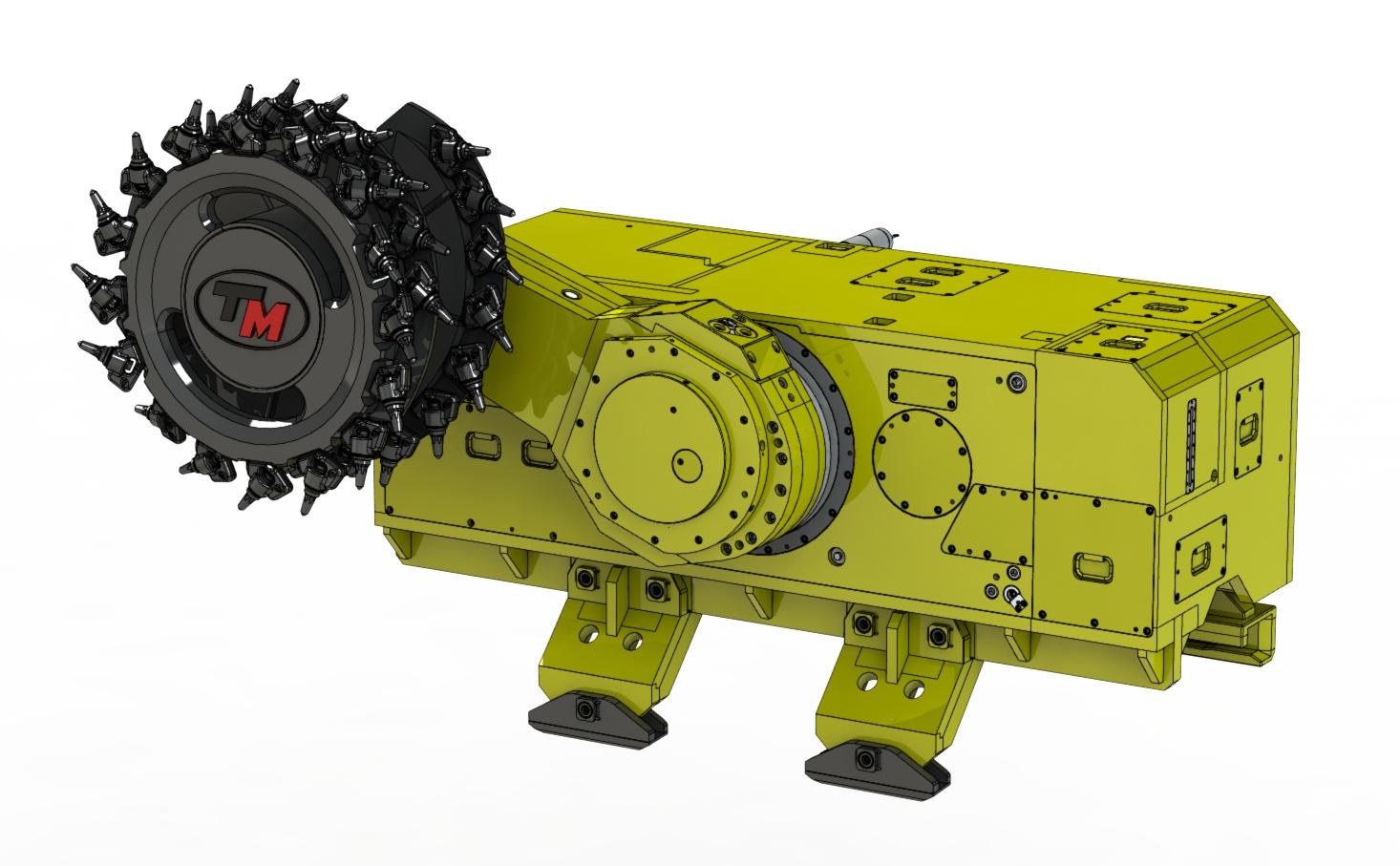 Při navrhování dobývacího kombajnu MB 300 Mono využili konstruktéři naplno předností 3D CAD systému SOLIWORKS. Obr.: T Machinery