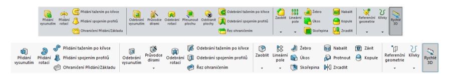 Srovnání vizuálního stylu na ikonách vSOLIDWORKSu Education Edition 2015–16 (nahoře) a SOLIDWORKSu Education Edition 2016–17