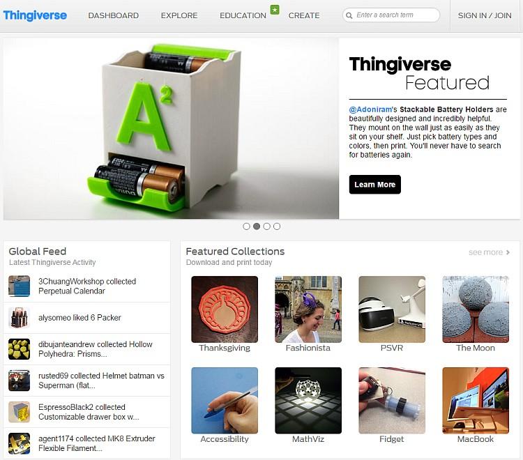 Modely na portálu Thingiverse jsou dostupné bezplatně