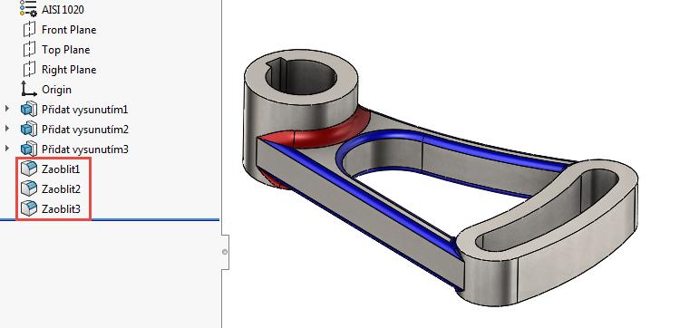SolidWorks automaticky vybere naposledy použitý příkaz aniž byste jej hledali v některém z panelů nebo menu.