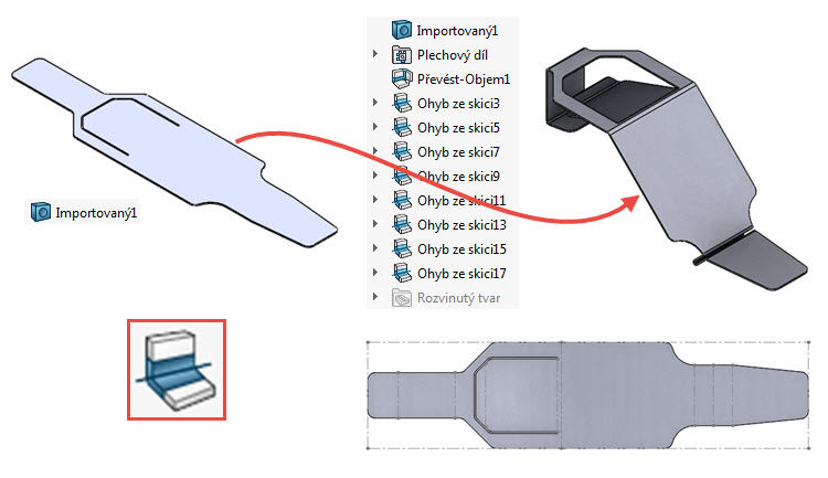 39-SolidWorks-Plechove-dily-prevod-rozvinuteho-importovaneho-modelu-na-plechovy-dil