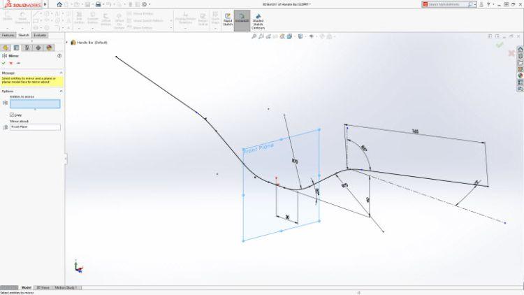Zrcadlení entit ve 3D skice (Mirror 3D sketch). Entity 2D a 3D skici mohou být zrcadleny podle primární roviny nebo referenční geometrie (Ref planes as symetry reference in 2D and 3D sketch)