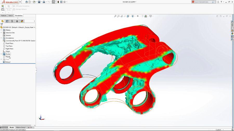 Grafické zobrazení výsledků generativního návrhu v SOLIDWORKS Simulation (Complete SOLIDWORKS Integration with SIMULATION View)