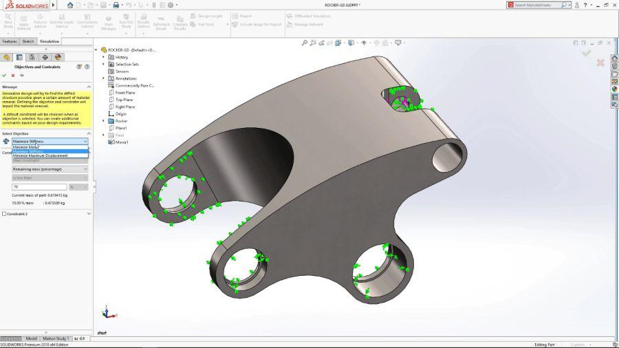 Výpočet optimalizovaného tvaru lze hledat na základě těchto omezujících kritérií: minimalizace hmoty, maximální pevnost, co nemenší deformace (Multiple Objective support)