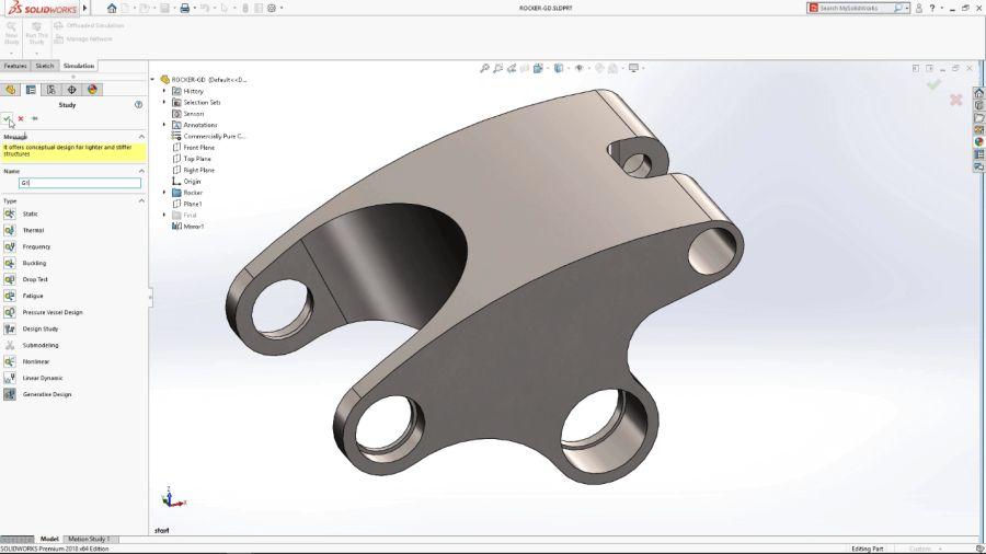 Generativní navrhování (hledání optimálního tvaru výrobku sohledem na výsledek simulace) bude součástí produktu SOLIDWORKS Simulation (Part of the SIMULATION Product Family)