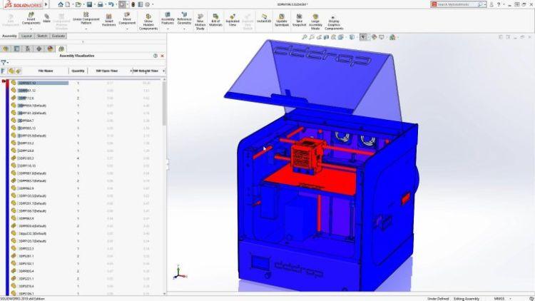 Vylepšené hodnocení vizualizace sestavy (Assembly visualization of SOLIDWORKS performance information)