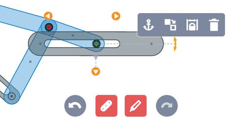 Konstrukce klikového mechanismu je v moduluMech it intuitivní. Pro návrh slouží sada nástrojů, s níž snadno nastavíte neboupravíte délku, šířku a polohu konektorů, přidáte nebo odeberete stupně volnosti. Pro vyvození pohybu je nutné definovatotáčivý pohyb kliky