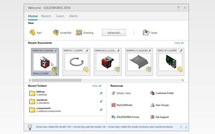 Nové úvodní okno (New SOLIDWORKS Home screen) bude obsahovat tlačítka pro založení nových dokumentů včetně grafického náhledu nedávno otevřených dokumentů, navštívených složek a zdrojů informací