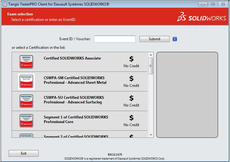 Dostupné certifikované zkoušky SOLIDWORKS