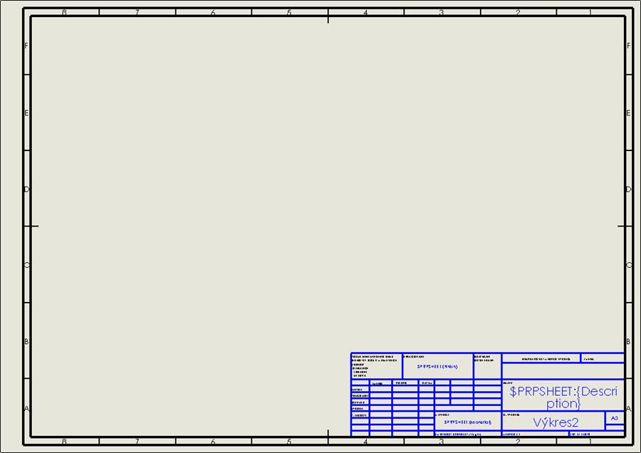 Výchozí formát listu a3 - (ISO).SLDDRT ve výchozí šabloně výkresu Výkres.DRWDOT