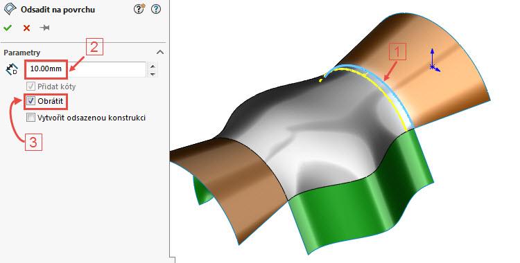 3-odsazeni-curved-surface-na-3D-povrchu-SolidWorks-2017-novinky