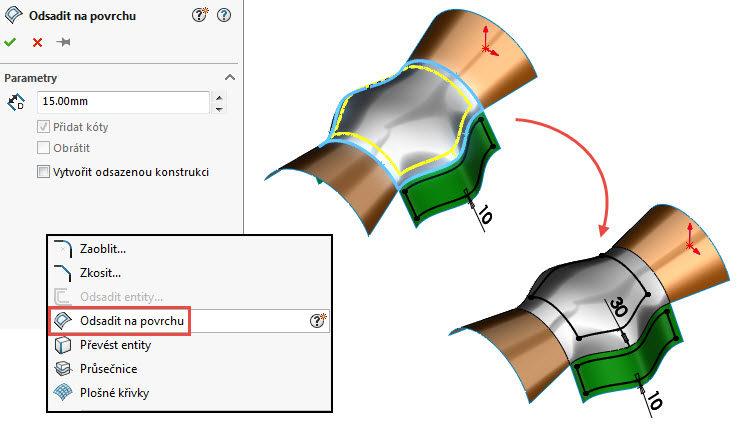 Jak odsadit skicu na površích 3D geometrie