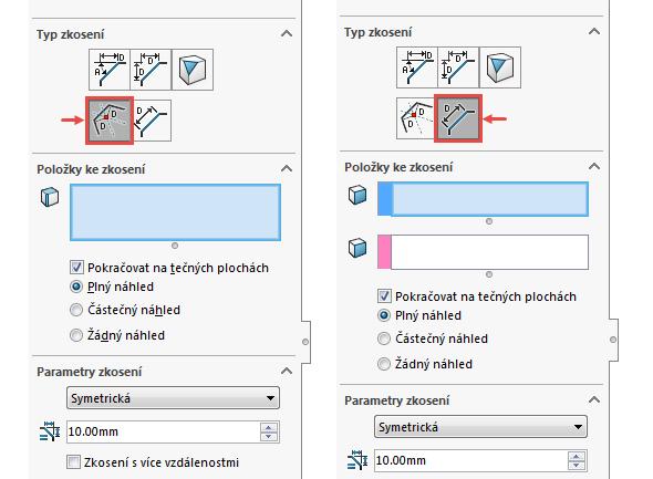 PropertyManager stypem Odsadit Plochu (vlevo) a Plocha Plocha)