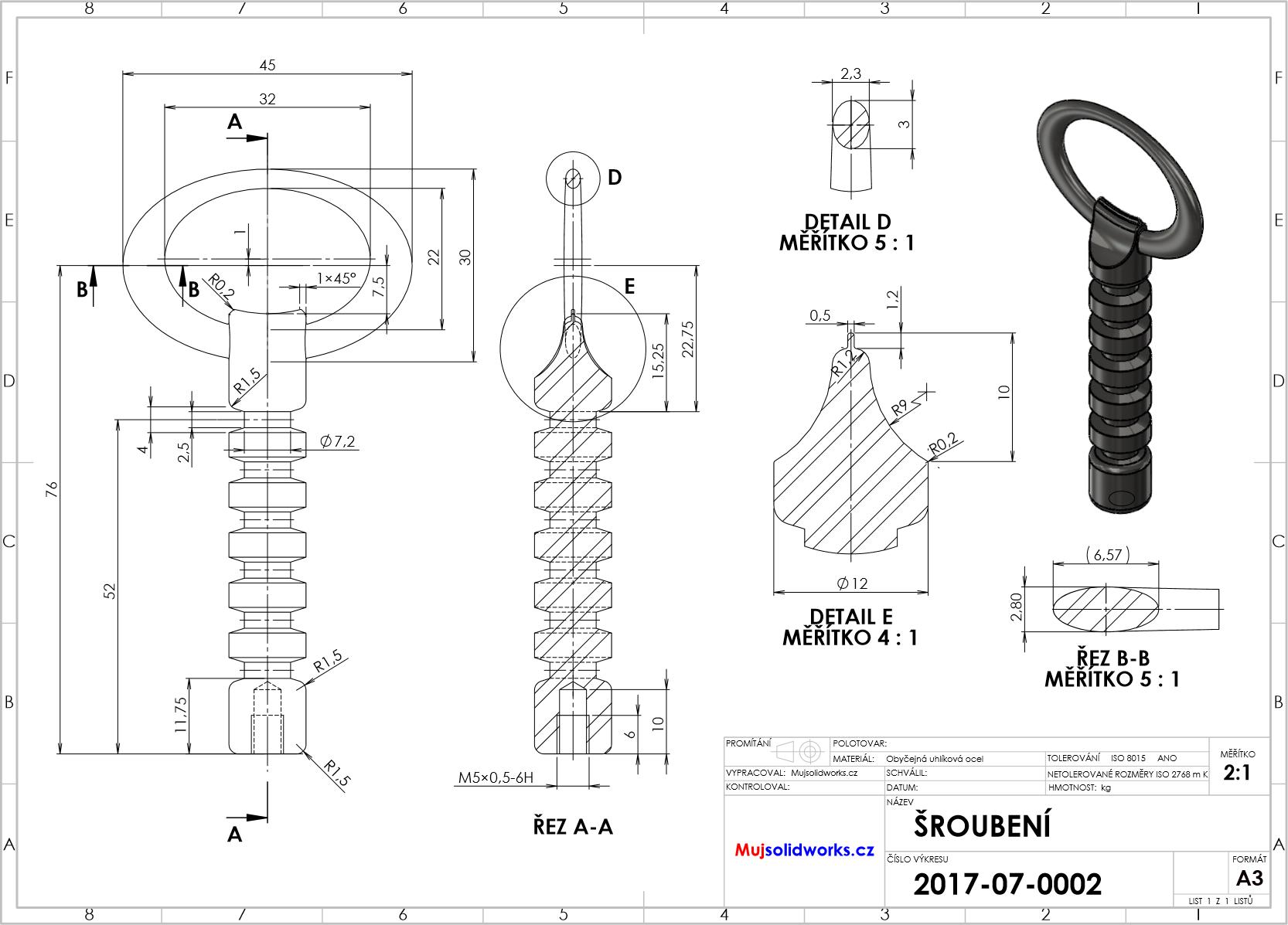 1-SolidWorks-vyvrtka-zadani-sroubeni-vykres