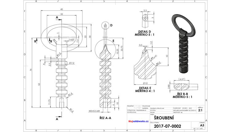 8-SolidWorks-vyvrtka-zadani-sroubeni-vykres