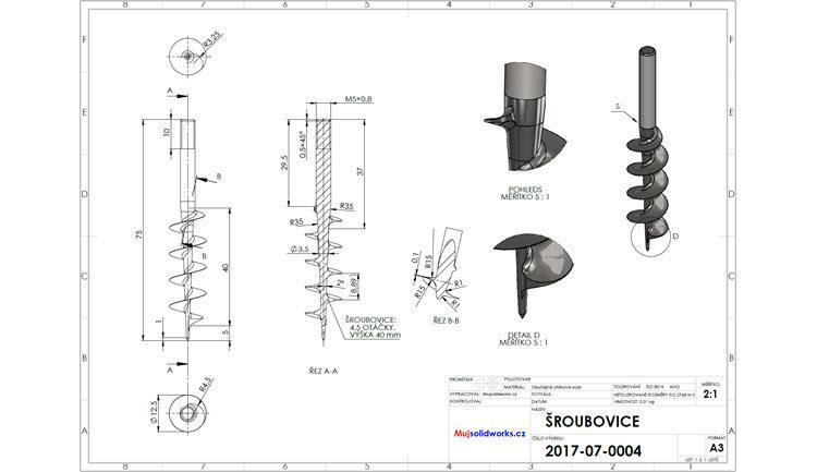 Vývrtka: Výkres modelu šroubovice (zadání)