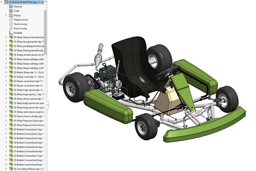 Model motokáry importovaný do SOLIDWORKSu ve formátu STEP (zdroj: GrabCAD.com)