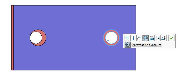 Zarovnání stouto vazbou – u druhého výběru se použije soustředná vazba a celé vychýlení je použito na první výběr děr