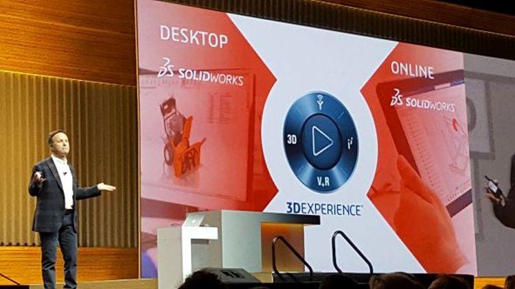 Generální ředitel společnosti Dassault Systèmes SolidWorks Gian Paolo Bassi oficiálně uvedl on-line verzi SolidWorksu xDesign na celosvětovém setkání a konferenci SolidWorks World 2018 vLos Angeles. Foto: Marek Pagáč
