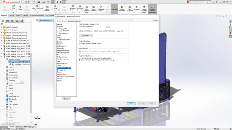 Automatické uzamknutí rotace soustředných vazeb u součástí zToolboxu