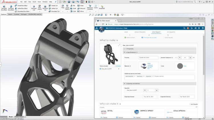 Marketplace Make nabízí výrobu součástí prostřednictvím různých technologií výroby. Na obrázku je ukázku modelu bionické konstrukce, pro kterou je charakteristická výroba 3D tiskem. Obrázek: Dassault Systèmes
