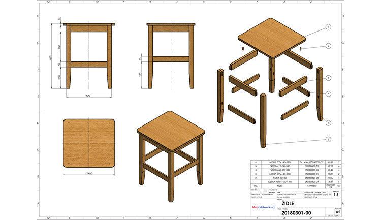 Židle: Výkresová dokumentace sestavy s kusovníkem