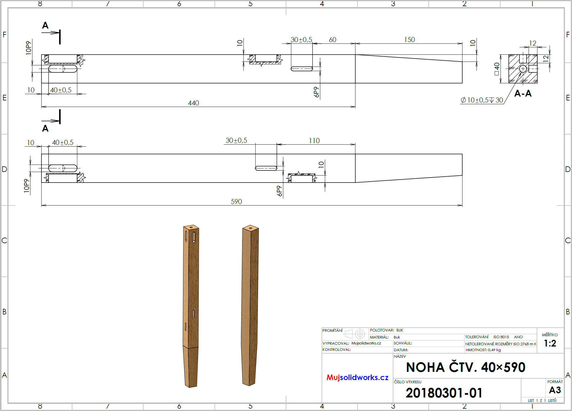 1-postup-navod-zacatecnik-sestava-animace-SolidWorks-tutorial-noha