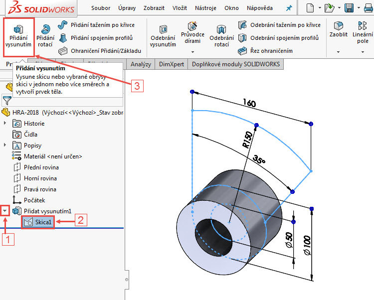 16-SolidWorks-vahadlo1-Hranice-2018-postup-tutorial-navod
