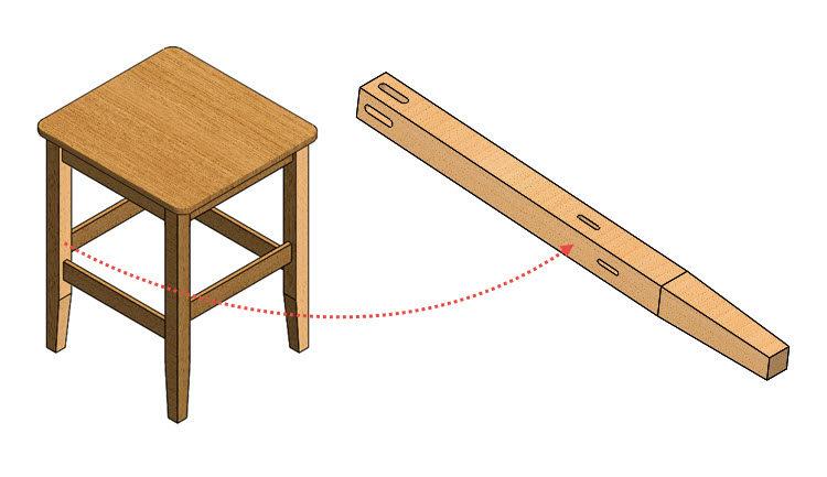 Židle: Postup modelování nohy #2