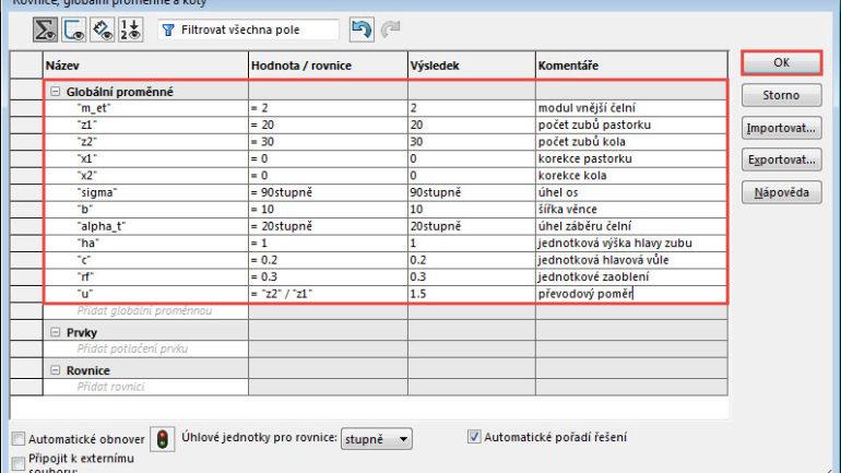 Postup modelování kuželového kola spřímými zuby (parametricky) #1