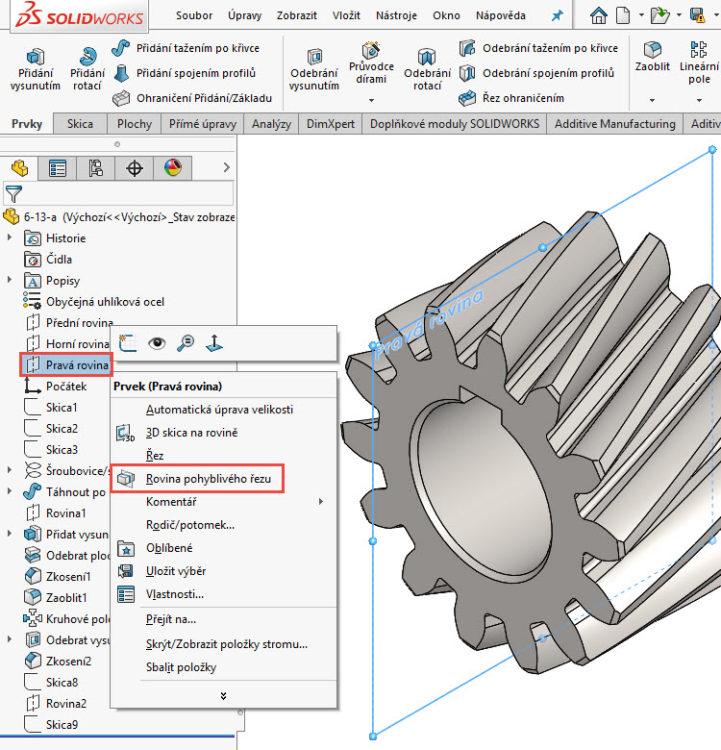 1-SolidWorks-rovina-pohybliveho-rezu-navod,postup