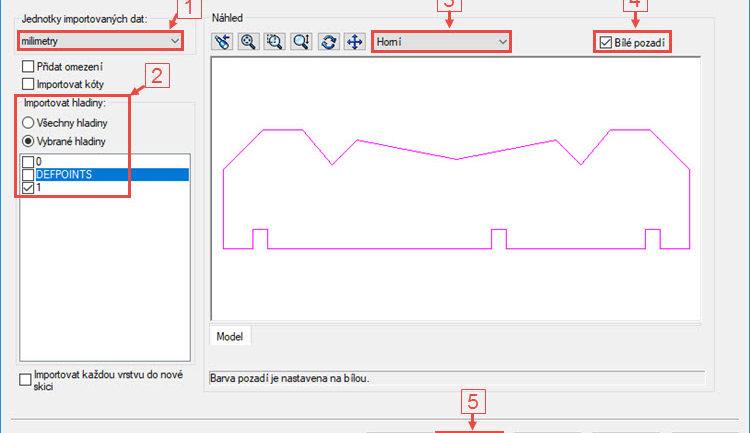 Jak importovat do SOLIDWORKSu data ve formátu DXF jako 2D