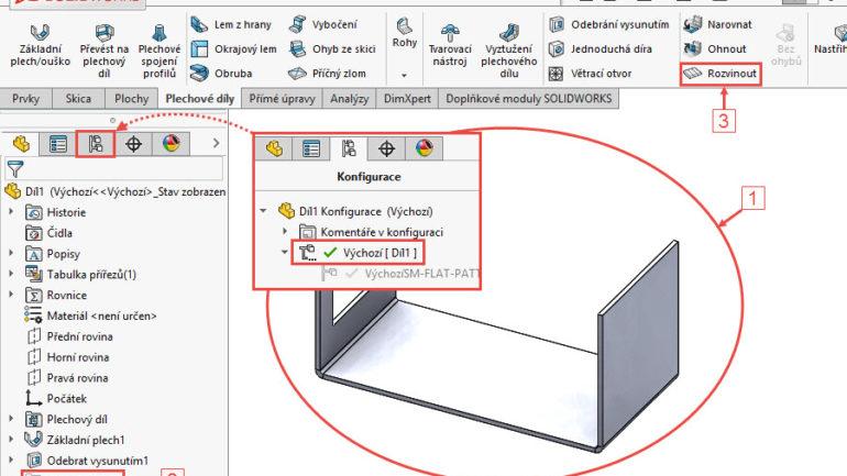 Výroba plechových dílů #6: Konfigurace a rozvinutý tvar ve výkresu SOLIDWORKS