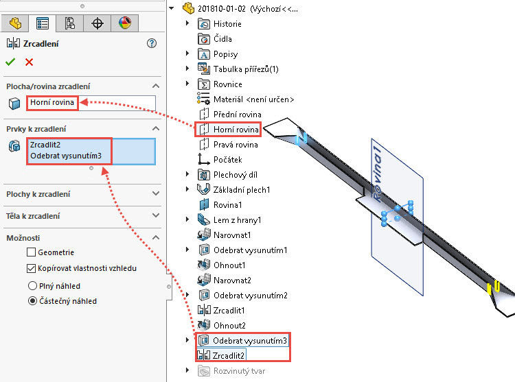 72-SolidWorks-postup-navod-modelani-vetrak-plechove-dily-vyztuha-skrine