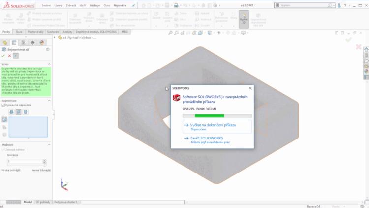 Nový dialog SOLIDWORKSu se zobrazí potom, co Microsoft Windows zjistí, že SOLIDWORKS přestal reagovat