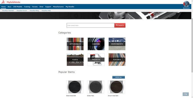 Visualize CLoud Library obsahuje celou řadu přednastavených prostředí a knihovnu materiálů