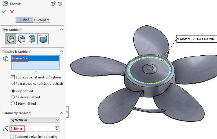 371-SolidWorks-postup-navod-modelani-vetrak-plechove-dily-lopatkove-kolo
