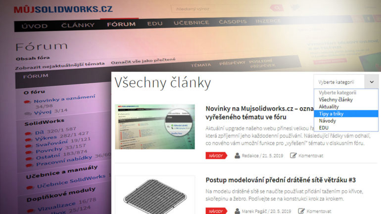 Pomůcky pro snazší používání webu – novinky na Mujsolidworks.cz