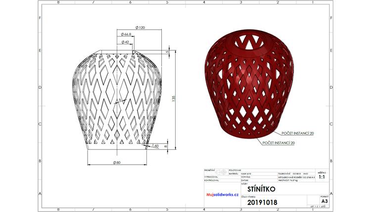 Stínítko pro výrobu 3D tiskem: Výkres