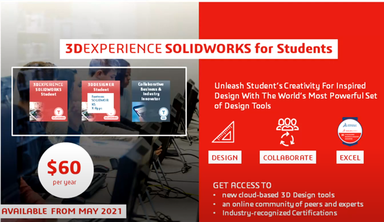 Základní informace o nabídce SOLIDWORKSu pro studenty uvedl na konferenci 3DEXPERIENCE World generální ředitel Gian Paollo Bassi. Zdroj: Youtube.com