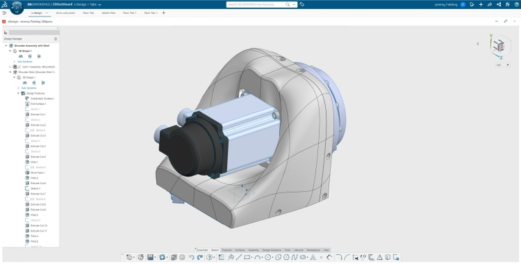 Pro návrh plastových částí využil Jeremy 3D Sculptor, který je součástí 3DEXPERINCE SOLIDWORKS. Zdroj: The SOLIDWORKS Blog