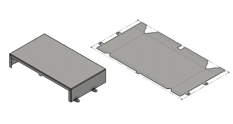 Ohnutý (vlevo) a rozvinutý tvar plechového dílu
